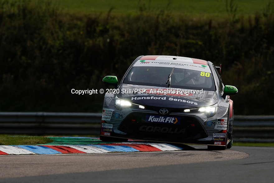 Round 5 of the 2020 British Touring Car Championship. #80 Tom Ingram. Team Toyota GB with Ginsters. Toyota Corolla.