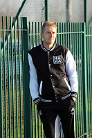 Pictured: Swansea City FC player Garry Monk modelling HaHa clothing, designed by Adebayo Akinfenwa. Friday 27 January 2012
