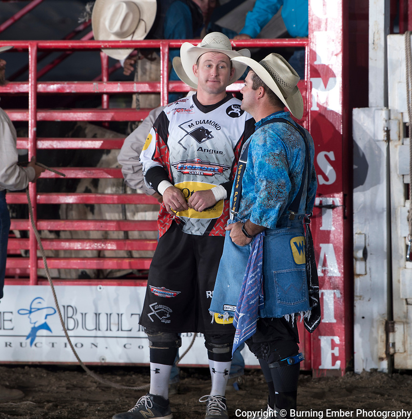 Nate Jestes and Tim Oconnor share some stories before the 3rd perf start at the Xtreme Bulls event at the Gem State Stampede August 23rd, 2018 in Couer D'Alene ID.  Photo by Josh Homer/Burning Ember Photography.  Photo credit must be given on all uses.