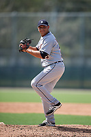 Detroit Tigers pitcher Angel Reyes (25) delivers a pitch during a Florida Instructional League game against the Pittsburgh Pirates on October 2, 2018 at the Pirate City in Bradenton, Florida.  (Mike Janes/Four Seam Images)