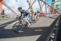 3 men breakaway group of the day: Ronan Van Zandbeek (NLD/De Rijcke), Dries Hollanders (BEL/Metec-DKH) & Jay Thomson (RSA/MTN-Qhubeka) over the Spijkenisserbrug<br /> <br /> 3rd World Ports Classic 2014<br /> stage 1: Rotterdam - Antwerpen 195km
