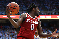 CHAPEL HILL, NC - FEBRUARY 25: D.J. Funderburk #0 of North Carolina State University gathers a rebound during a game between NC State and North Carolina at Dean E. Smith Center on February 25, 2020 in Chapel Hill, North Carolina.