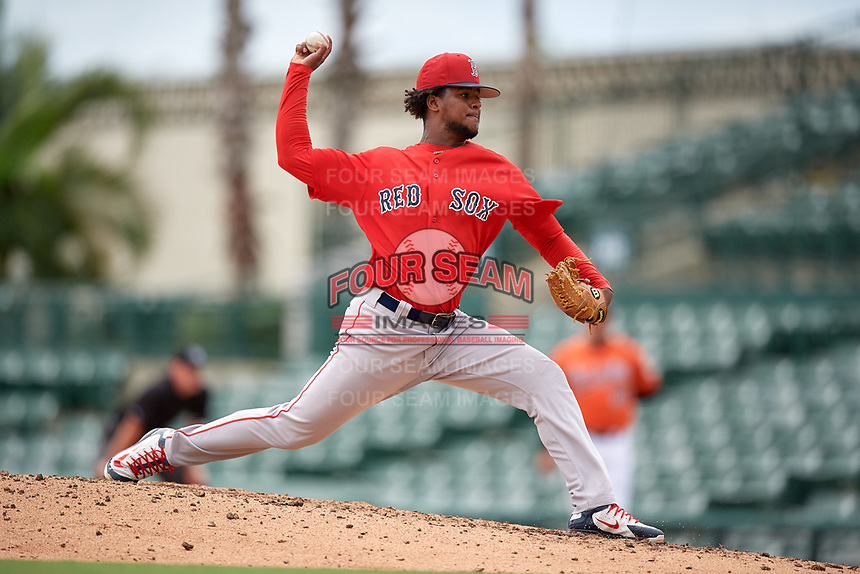 Boston Red Sox pitcher Yasel Santana (93) delivers a pitch during a Florida Instructional League game against the Baltimore Orioles on October 8, 2018 at the Ed Smith Stadium in Sarasota, Florida.  (Mike Janes/Four Seam Images)