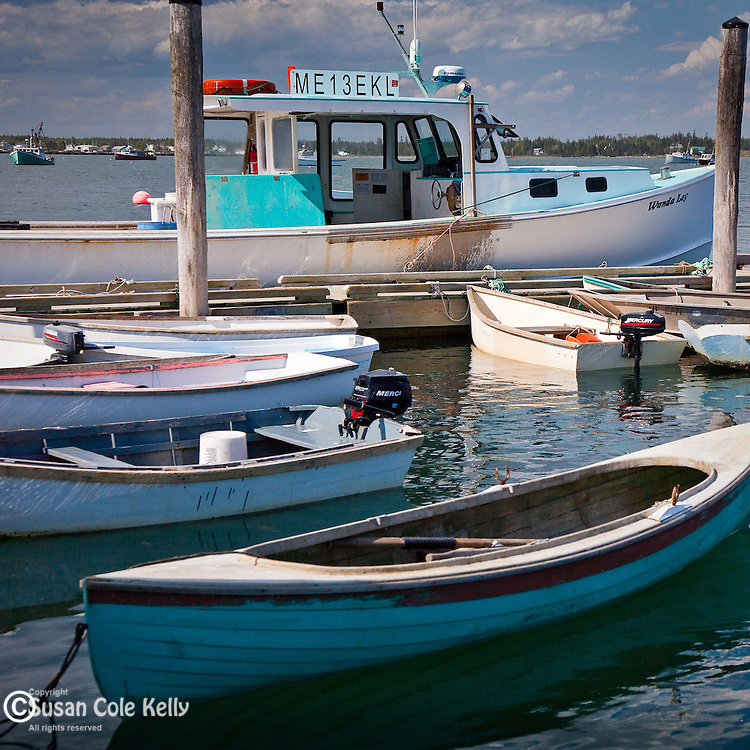 Boats in the fishing village of Jonesport, Downeast, ME, USA