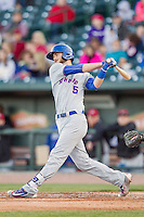 South Bend Cubs first baseman Matt Rose (5) follows through on his swing against the Great Lakes Loons on May 18, 2016 at Dow Diamond in Midland, Michigan. Great Lakes defeated South Bend 5-4. (Andrew Woolley/Four Seam Images)