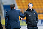 St Johnstone v St Mirren…27.10.18…   McDiarmid Park    SPFL<br />Oran Kearney shakes hands with Tommy Wright at full time<br />Picture by Graeme Hart. <br />Copyright Perthshire Picture Agency<br />Tel: 01738 623350  Mobile: 07990 594431