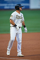 Roberto Pena (31) of the Salt Lake Bees takes a lead from third base during the game against the Oklahoma City Dodgers at Smith's Ballpark on July 31, 2019 in Salt Lake City, Utah. The Dodgers defeated the Bees 5-3. (Stephen Smith/Four Seam Images)