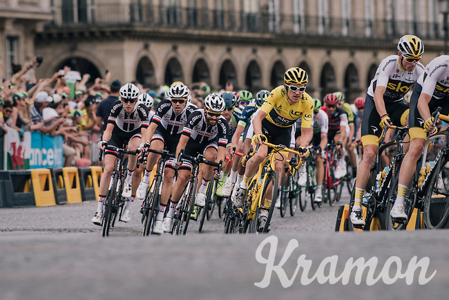 Chris Froome (GBR/SKY) & Team SKY piloting yellow jersey / GC leader Geraint Thomas (GBR/SKY) safely over the famous Champs-Élysées boulevard<br /> <br /> Stage 21: Houilles > Paris / Champs-Élysées (115km)<br /> <br /> 105th Tour de France 2018<br /> ©kramon