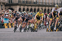 Chris Froome (GBR/SKY) & Team SKY piloting yellow jersey / GC leader Geraint Thomas (GBR/SKY) safely over the famous Champs-Élysées boulevard<br /> <br /> Stage 21: Houilles > Paris / Champs-Élysées (115km)<br /> <br /> 105th Tour de France 2018<br /> ©kramon
