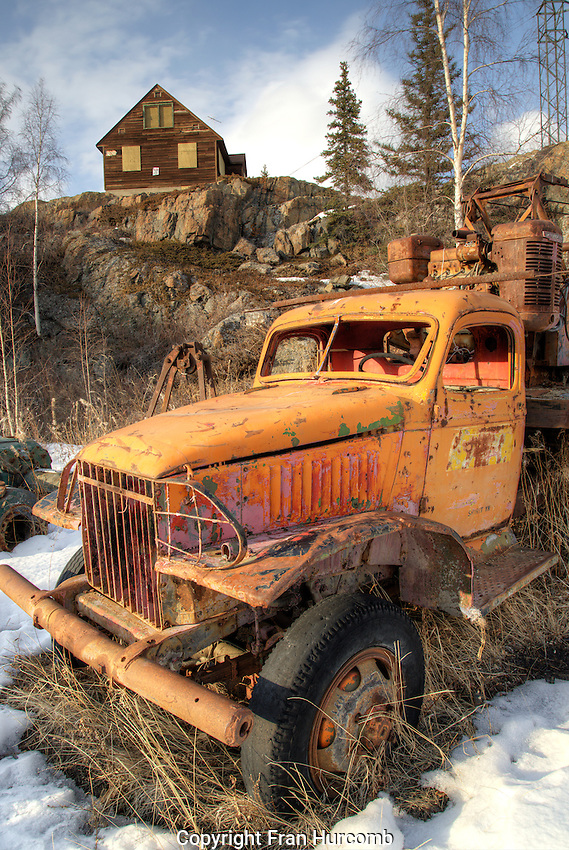 Old mining truck at Giant Mine town site in Yellowknife NT. Mining