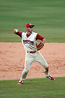 Clearwater Threshers third baseman Mitch Walding (10) throws to first during the first game of a doubleheader against the Jupiter Hammerheads on July 25, 2015 at Bright House Field in Clearwater, Florida.  Jupiter defeated Clearwater 8-5.  (Mike Janes/Four Seam Images)