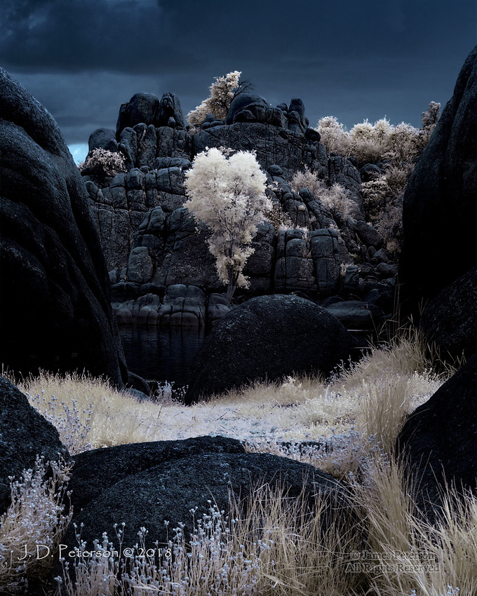 Stormy Day at Watson Lake (Infrared) ©2018 James D Peterson.  This lake, in Prescott, Arizona, is surrounded by dramatically sculpted granite ridges.  Opportunistic grasses, cottonwoods, and other vegetation take root wherever they can gain a foothold.