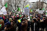 Manif d'Algeriens<br /> dans les rues de Montreal, CANADA,<br />  demandant le depart du President BOUTEFLIKA, Avril 2019<br /> <br /> PHOTO :  Agence Quebec Presse