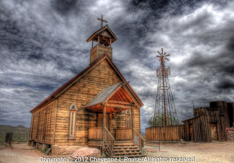 "Old western church at Goldfield Mine and Ghost Town in Arizona - also known as ""Church at the Mount"". (color)"