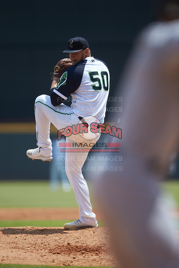 Gwinnett Stripers starting pitcher Patrick Weigel (50) in action against the Scranton/Wilkes-Barre RailRiders at Coolray Field on August 18, 2019 in Lawrenceville, Georgia. The RailRiders defeated the Stripers 9-3. (Brian Westerholt/Four Seam Images)