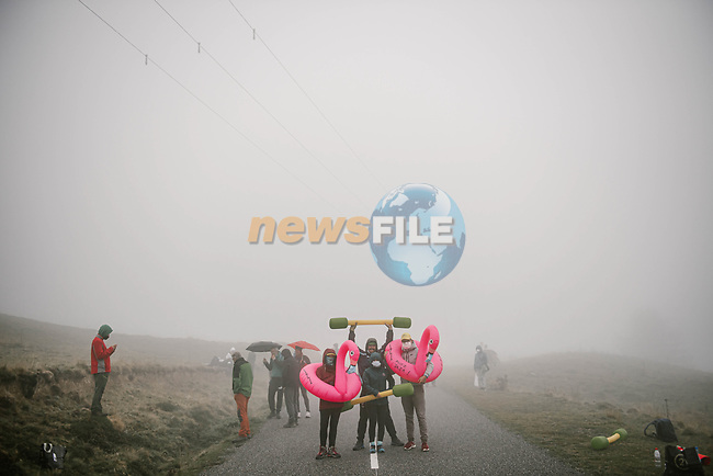 Fans wait in the mist for the race to arrive during Stage 9 of Tour de France 2020, running 153km from Pau to Laruns, France. 6th September 2020. <br /> Picture: ASO/Pauline Ballet | Cyclefile<br /> All photos usage must carry mandatory copyright credit (© Cyclefile | ASO/Pauline Ballet)