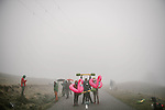 Fans wait in the mist for the race to arrive during Stage 9 of Tour de France 2020, running 153km from Pau to Laruns, France. 6th September 2020. <br /> Picture: ASO/Pauline Ballet   Cyclefile<br /> All photos usage must carry mandatory copyright credit (© Cyclefile   ASO/Pauline Ballet)