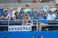 "A Florida Gators fan hangs a ""K"" sign following a strikeout during the game against the Wake Forest Demon Deacons in the completion of Game Two of the Gainesville Super Regional of the 2017 College World Series at Alfred McKethan Stadium at Perry Field on June 12, 2017 in Gainesville, Florida. The Demon Deacons walked off the Gators 8-6 in 11 innings. (Brian Westerholt/Four Seam Images)"