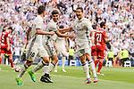 Real Madrid's Cristiano Ronaldo, Marco Asensio and James Rodriguez celebrating a goal during La Liga match between Real Madrid and Sevilla FC at Santiago Bernabeu Stadium in Madrid, May 14, 2017. Spain.<br /> (ALTERPHOTOS/BorjaB.Hojas)