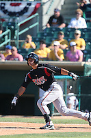 Alberth Martinez #21 of the Lake Elsinore Storm bats against the Lancaster JetHawks at The Hanger on April 6, 2014 in Lancaster, California. Lancaster defeated Lake Elsinore, 7-4. (Larry Goren/Four Seam Images)