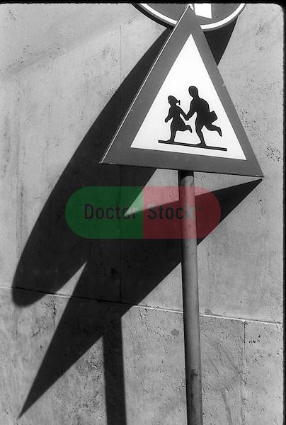 traffic sign of children running