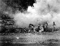 The Rockets Red Glare - U.S. Marines launch a 4.5 rocket barrage against the Chinese Communists in the Korean fighting. Ca. 1951. (Marine Corps)<br /> Exact Date Shot Unknown<br /> NARA FILE #:  127-N-A156882<br /> WAR & CONFLICT BOOK #:  1437