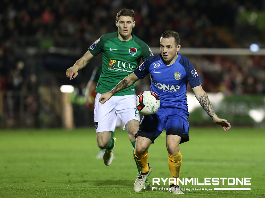 2017 SSE Airtricity League Premier Division,<br /> Cork City vs Bray Wanderers,<br /> Friday 27th October 2017,<br /> Turners Cross, Cork.<br /> Gary McCabe of Bray with Garry Buckley of Cork.<br /> Photo By: Michael P Ryan