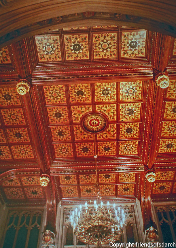 Ceiling of House of Lords. Charles Barry was the architect with drawings by Augustus Pugin. Gothic Revival style.