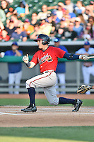 Mississippi Braves center fielder Matt Lipka (20) swings at a pitch during a game against the Tennessee Smokies at Smokies Stadium on May 7, 2016 in Kodak, Tennessee. The Smokies defeated the Braves 5-3. (Tony Farlow/Four Seam Images)