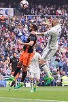 Real Madrid's Karim Benzema and Valencia CF's Martin Montoya during La Liga match between Real Madrid and Valencia CF at Santiago Bernabeu Stadium in Madrid, April 29, 2017. Spain.<br /> (ALTERPHOTOS/BorjaB.Hojas)