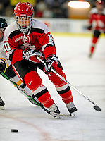 3 January 2009: St. Lawrence Saints' forward Brock McBride, a Senior from Cornwall, Ontario, in action against the University of Vermont Catamounts during the championship game of the Catamount Cup Ice Hockey Tournament at Gutterson Fieldhouse in Burlington, Vermont. The Cats defeated the Saints 4-0 and won the tournament for the second time since its inception in 2005...Mandatory Photo Credit: Ed Wolfstein Photo