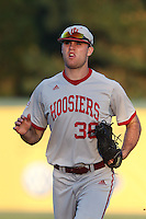 Tim O'Conner #36 of the Indiana Hoosiers during a game against the Long Beach State Dirtbags at Blair Field on March 14, 2014 in Long Beach, California. Long Beach State defeated Indiana 4-3. (Larry Goren/Four Seam Images)