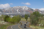 Motorcyclists on a mountain road near Boulder, Colorado, .  John leads private photo tours in Boulder and throughout Colorado. Year-round.