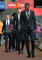 Tammy Abraham of Swansea City (R) arrives prior to the game during the Premier League match between Swansea City and Watford at The Liberty Stadium, Swansea, Wales, UK. Saturday 23 September 2017