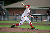 Auburn Doubledays pitcher Davis Moore (32) during a NY-Penn League game against the Batavia Muckdogs on September 2, 2019 at Falcon Park in Auburn, New York.  Batavia defeated Auburn 7-0.  (Mike Janes/Four Seam Images)