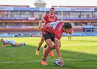 5th September 2020; Kingsholm Stadium, Gloucester, Gloucestershire, England; English Premiership Rugby, Gloucester versus London Irish; Louis Rees-Zammit of Gloucester scores a try