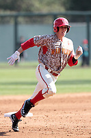 Jack Cleary #39 of the Maryland Terrapins runs the bases against the UCLA Bruins at Jackie Robinson Stadium on February 19, 2012 in Los Angeles,California. Maryland defeated UCLA 5-1.(Larry Goren/Four Seam Images)