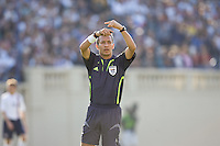 Referee Hugo Guajardo signals a player change. The USA defeated China, 4-1, in an international friendly at Spartan Stadium, San Jose, CA on June 2, 2007.