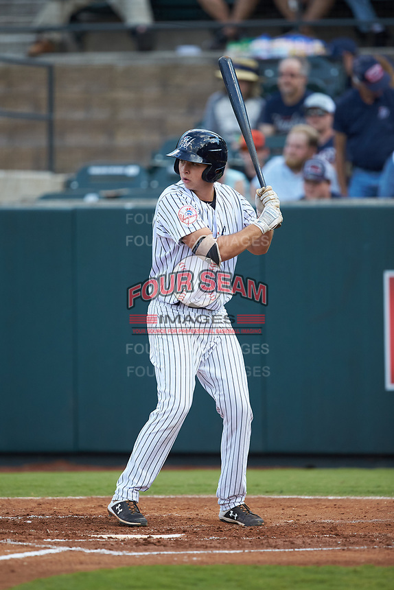 Chad Bell (63) of the Pulaski Yankees at bat against the Burlington Royals at Calfee Park on September 1, 2019 in Pulaski, Virginia. The Royals defeated the Yankees 5-4 in 17 innings. (Brian Westerholt/Four Seam Images)