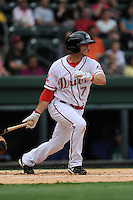 Second baseman Reed Gragnani (7) of the Greenville Drive bats in a game against the Lexington Legends on Monday, August 18, 2013, at Fluor Field at the West End in Greenville, South Carolina. Gragnani was a 21st-round pick out of the University of Virginia by the Boston Red Sox in the 2013 First-Year Player Draft. Lexington won, 5-0. (Tom Priddy/Four Seam Images)