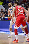 Real Madrid's Jeffery Taylor and Crvena Zvezda Mts Belgrade's Marko Guduric during Turkish Airlines Euroleague match between Real Madrid and Crvena Zvezda Mts Belgrade at Wizink Center in Madrid, Spain. March 10, 2017. (ALTERPHOTOS/BorjaB.Hojas)