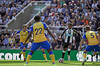 28th August 2021; St James Park, Newcastle upon Tyne, England; EPL Premier League football, Newcastle United versus Southampton; Joe Willock of Newcastle United takes the shot past Stephens of Southampton