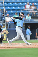 Hickory Crawdads Jake Guenther (15) swings at a pitch during a game against the Asheville Tourists on July 21, 2021 at McCormick Field in Asheville, NC. (Tony Farlow/Four Seam Images)