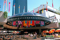 Vancouver: Law Courts--Robson Square. A sunken Plaza below street level, restaurants.  Photo '86.