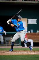 Akron RubberDucks second baseman Mark Mathias (12) at bat during a game against the Harrisburg Senators on August 18, 2018 at FNB Field in Harrisburg, Pennsylvania.  Akron defeated Harrisburg 5-1.  (Mike Janes/Four Seam Images)
