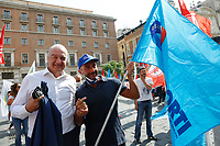 The right wing candidate mayor at the next elections in Rome Enrico Michetti during the demonstration of the workers of Alitalia together with the trade unions in Piazza San Silvestro.<br /> Rome (Italy), September 10th 2021<br /> Photo Samantha Zucchi Insidefoto