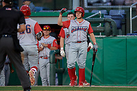 Williamsport Crosscutters Nate Fassnacht (right) congratulates Rudy Rott (26) after a home run during a NY-Penn League game against the Batavia Muckdogs on August 25, 2019 at Dwyer Stadium in Batavia, New York.  Williamsport defeated Batavia 10-3.  (Mike Janes/Four Seam Images)
