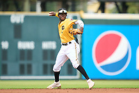 FCL Pirates Gold shortstop Deivis Nadal (3) throws to first base during a game against the FCL Rays on July 26, 2021 at LECOM Park in Bradenton, Florida. (Mike Janes/Four Seam Images)