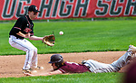 SOUTHBURY, CT 050721JS06—Pomperaug's Ryan Sokol (7) had to run down the throw allowing Bethel's Cole Strang (3) to safely steal second base during their game Friday at Pomperaug High School. <br /> Jim Shannon Republican American