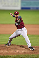 Mahoning Valley Scrappers pitcher Edward Estrella (49) delivers a pitch during a game against the Batavia Muckdogs on August 23, 2014 at Dwyer Stadium in Batavia, New York.  Mahoning Valley defeated Batavia 5-1.  (Mike Janes/Four Seam Images)